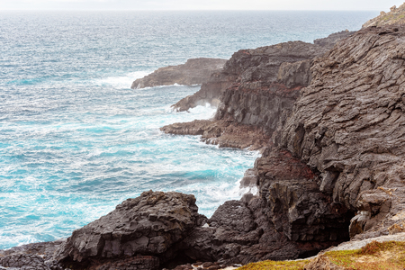 Blowholes marine erosion on the rocky Australian coastline near Portland in Victoria 스톡 콘텐츠