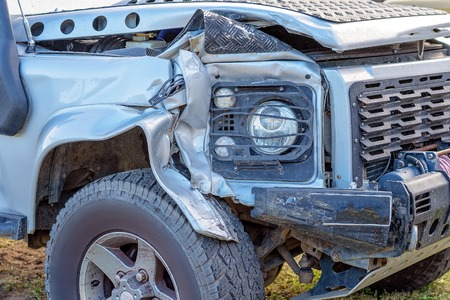 The front of a four wheel drive vehicle involved in a four car highway collision and too badly damaged to be repaired - a write off