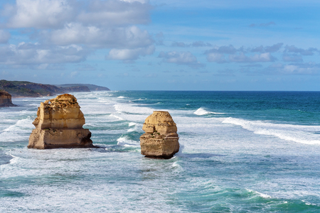 Limestone rock formations on the Australian coastline - the well-know Great Ocean Road Фото со стока