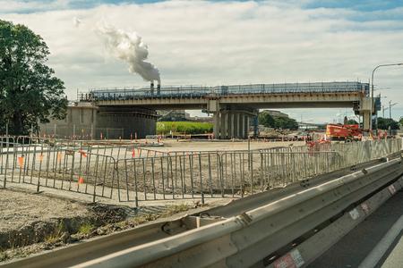 MACKAY, QUEENSLAND, AUSTRALIA - JUNE 2019: An overpass being construction as part of a bypass route away from city center