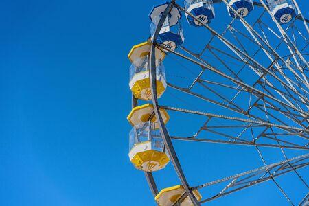 MACKAY, QUEENSLAND, AUSTRALIA - JUNE 2019: Ferris wheel ride high in the sky at Mackay Annual Show