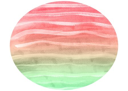 Soft red, green and yellow watercolour design with streaks of white in an oval shape on white background for your designs and artwork Imagens