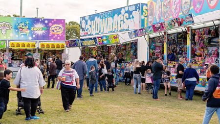 SARINA, QUEENSLAND, AUSTRALIA - AUGUST 2019: Crowd of people enjoying the local country show