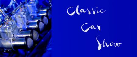 Custom vintage automobile engine as banner with classic car show text announcement