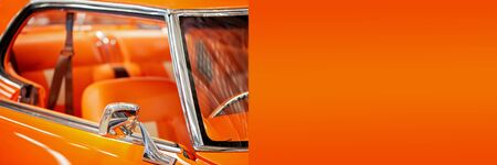 Custom classic vintage car banner with copy space for text advertisement Imagens