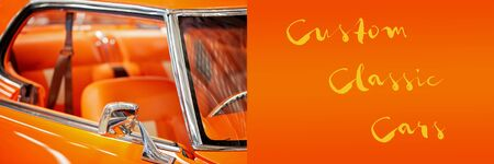 Custom vintage car banner with custom classic cars text announcement Imagens