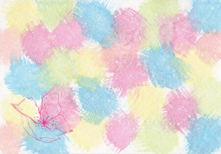 Hand painted pastel watercolor abstract splashes texture with lily flower print. Copy space for designs and artwork - illustration