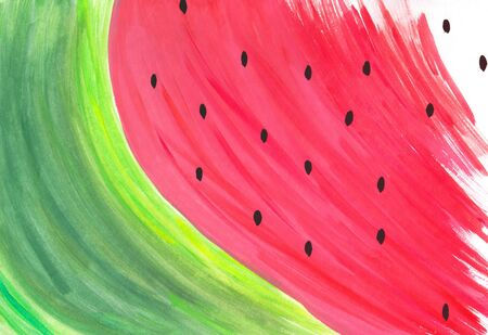 Watercolor abstract hand painted slice of watermelon illustration healthy food concept with copy space for your designs and artwork 版權商用圖片