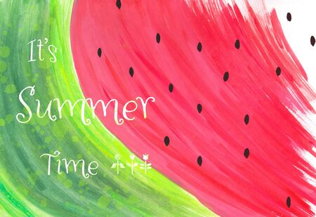 Watercolor abstract hand painted watermelon illustration with Its Summer Time text, healthy eating concept 版權商用圖片