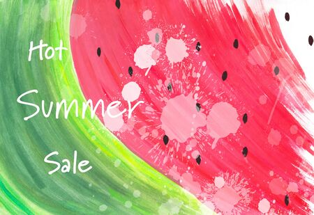Watercolor abstract hand painted watermelon illustration with Hot Summer Sale text, shopping concept