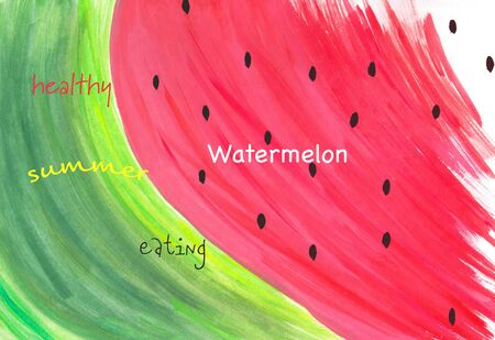 Watercolor abstract hand painted slice of watermelon illustration Healthy Summer Eating Text