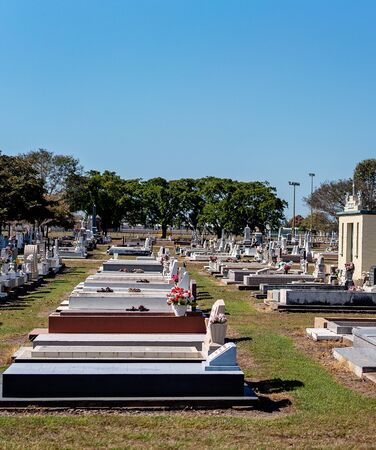 A cemetery in Australia with above ground gravestones on the outskirts of a country town Zdjęcie Seryjne