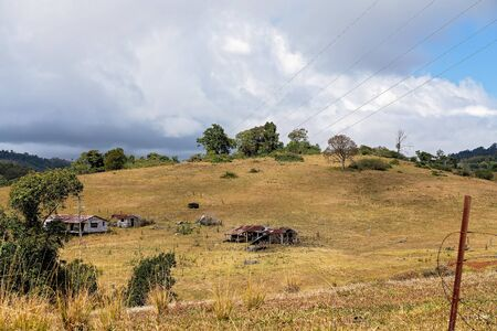 Rolling dales of dairy farm pasture in Australian hilly country at the top of a mountain range, the grass no longer green due to lack of rainfall Reklamní fotografie - 129925332