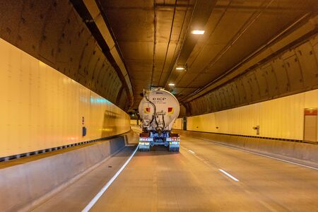 Brisbane, Queensland, Australia - 26th September 2019: Road transport connecting toll tunnel in the city Editorial