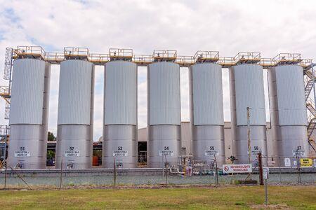 Brisbane, Queensland, Australia - 26th September 2019: Fuel storage tanks in an industrial area Sajtókép