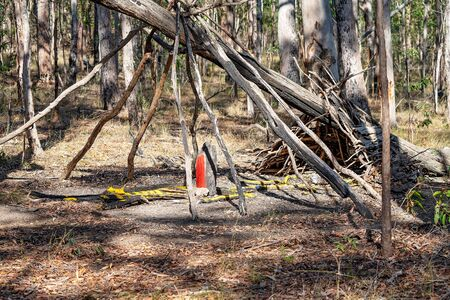 A teepee shape constructed by children as a play house in the bush