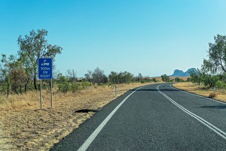 Truck rest stop in 500 meters on right highway indication sign for safe travel on the long roads in Australia Stock Photo