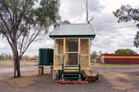 Warra, Queensland, Australia - October 2019: An historic old jail house now on display in a small country town