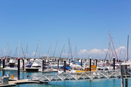 Mackay, Queensland, Australia - October 2019: Yachts moored at the marina on a calm sunny summer day Editorial