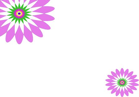 A graphic geometrical illustration on white background with purple flower design suitable as a greeting card, with copy space for text Stockfoto