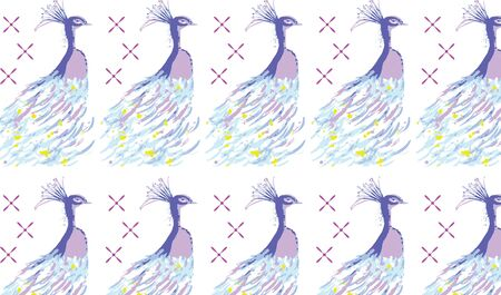 Repeating seamless pattern surface design illustration of peacock on white background for wallpaper, textile and wrapping paper