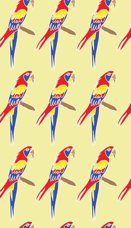 Repeating seamless pattern surface design illustration of a lorikeet on a yellow background for wallpaper, textile and wrapping paper