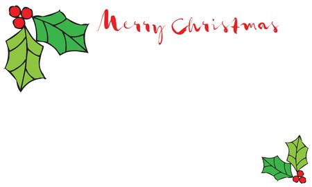 Merry Christmas holiday banner with holly leaves illustration, suitable as a greeting card, with copy space for text