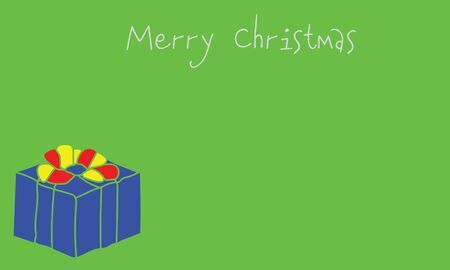 Merry Christmas holiday banner with wrapped gift illustration, suitable as a greeting card, with copy space for text