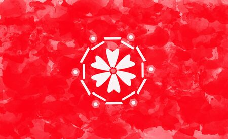 Abstract white circular flower illustration on red grunge background