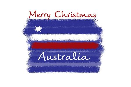 Blue, white and red paint strokes with Merry Christmas Australia concept on white background. Illustration for greeting card, postcard, banner, web design etc Zdjęcie Seryjne