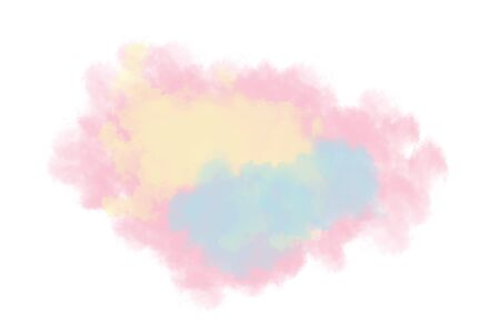 Soft abstract watercolor brushed in pink, yellow and blue on white background. Illustration with copy space for greeting card, postcard, web design etc Zdjęcie Seryjne