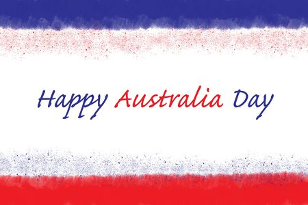 Red and blue strokes on white background, illustration representing the Australian flag with Happy Australia Day Text