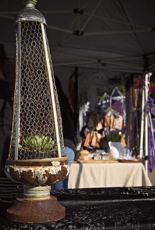 An old rusty metal and mesh candle holder or lamp with a succulent plant inside, for sale at a market stall