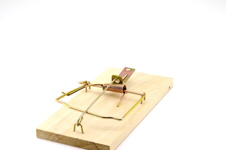 Rat trap on a white background, can be used as a concept for business, risk, loans, metaphor, with copy space.