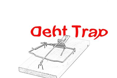 Conceptual sketch of mousetrap warning about the dangers of debt, being trapped by debt
