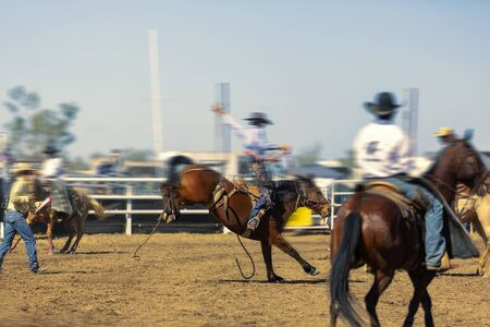A cowboy rides a bucking horse in the saddle bronc competition at a country rodeo