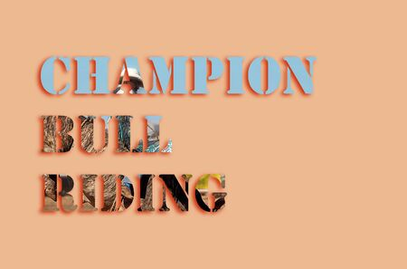 Champion Bull Riding - text with image depicting champion bull riding, suitable for web, print, professional or personal use Reklamní fotografie