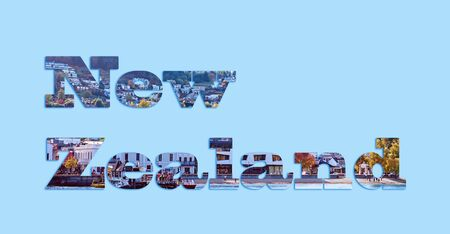 New Zealand - text with an image of the city of Queenstown forming the letters, suitable for web, print, professional or personal use