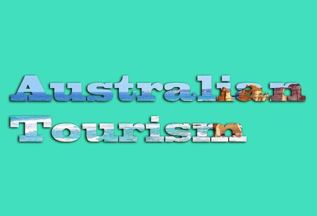 Australian Tourist - text with image of the Twelve Apostles on the Great Ocean Road forming the letters, suitable for immediate web, print, professional or personal use