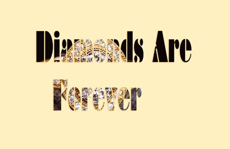 Diamonds Are Forever - text with a diamond ring forming the letters, suitable for immediate web, print, professional or personal use