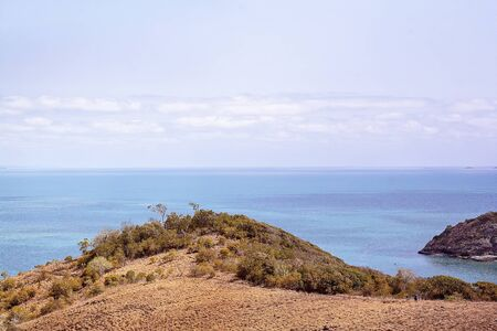 View from the headland out to Coral Sea from Bluff Point on the Capricorn Coast of Australia Stock Photo