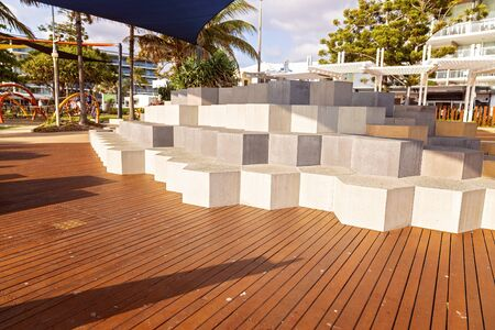 Stepping blocks for children to play on or adults to sit on at a playground in a small Australian seaside town