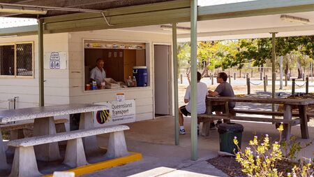 Waverley Creek, Queensland, Australia - December 2019: Driver reviver rest stop off the highway, with coffee and refreshments available to rejuvenate tired drivers on their long journey