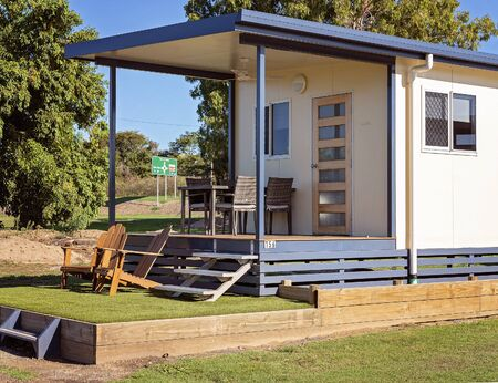 A typical Australian country caravan park cabin accommodation for overnight or weekly stays