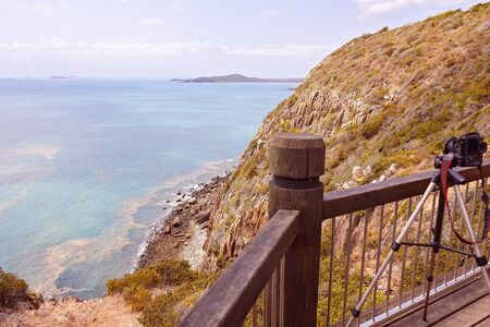 Camera and tripod set up at Turtle Lookout, Bluff Point on the Capricorn Coast of Australia
