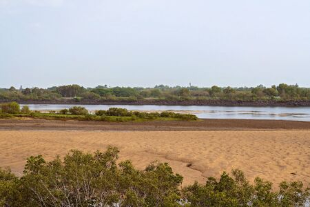 A river at low tide with the sand banks showing against a rock levy wall, with green vegetation in the foreground