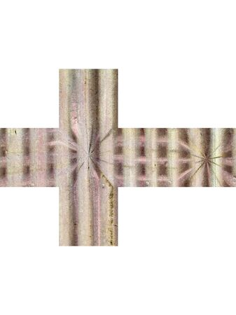 Horizontal cross illustrated from antique pitted metal