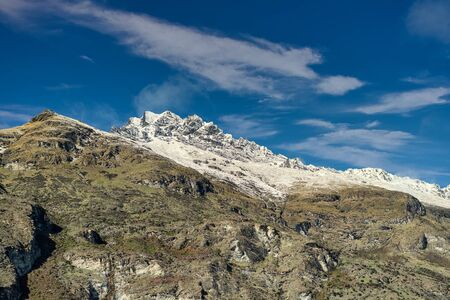 The snow capped alpine mountains called The Remarkables on Lake Wakatipu Otago Region in New Zealand