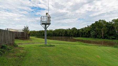 River flood alert network tower to warn of approaching flooding danger to people and property