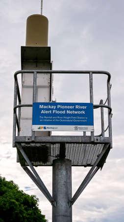 Mackay, Queensland, Australia - March 2020: Mackay Pioneer River Alert Flood Network tower
